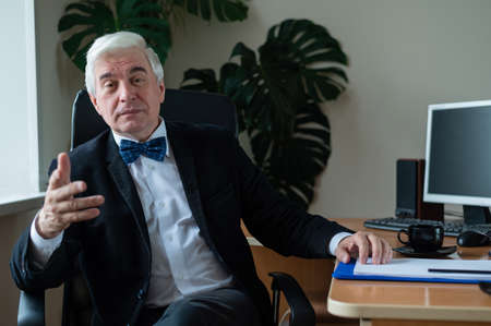 Charming mature gray-haired man at his desk.