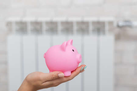 Close-up of a female hand with a piggy bank on the background of a battery. Stock Photo