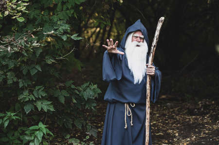 A wizard with a long gray beard casts a spell in a dense forest