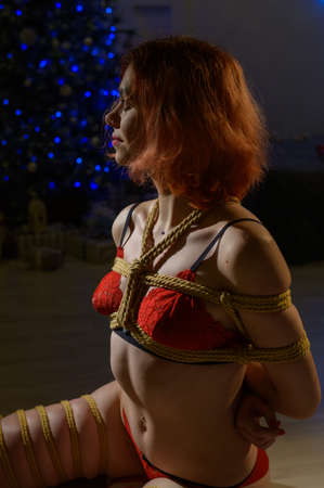 Red-haired woman in red underwear sitting on the floor against the background of a Christmas tree. The girl is tied with ropes in the Japanese style of shibari. Standard-Bild