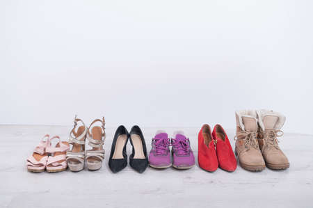 Womens choice of footwear for all seasons. Womens shoes in a row on a white background