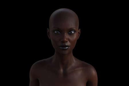 3d model portrait of a bald woman on a black background