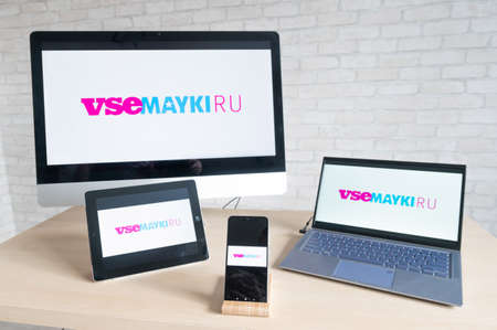 vsemayki online store logo on the screens of all devices. Online shopping concept.