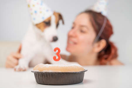 Caucasian woman and jack russell terrier in holiday caps look at the cake with a candle. The dog and the owner celebrate the third birthday. Banque d'images