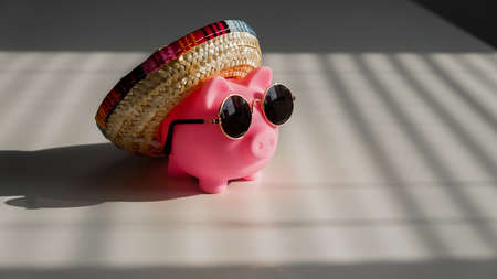 A piggy bank in sunglasses and a sombrero in the shade of the blinds