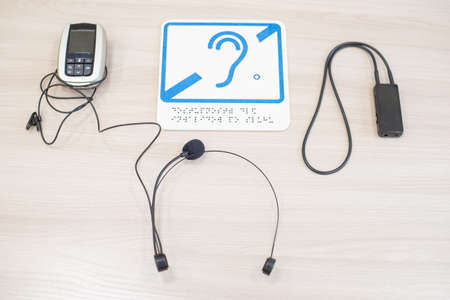 Headset for hearing impaired people on a white background