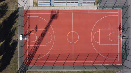 Top view of the basketball field. Shooting from a drone