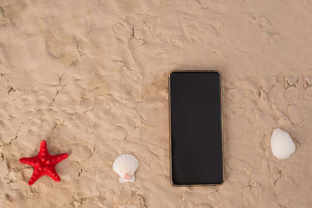 Top view of smartphone and seashells on sand. 写真素材