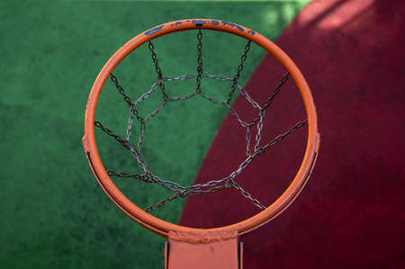 Top view of an empty basketball basket