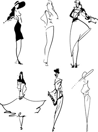 FASHION ICONS: set of hand-drawn top models 向量圖像