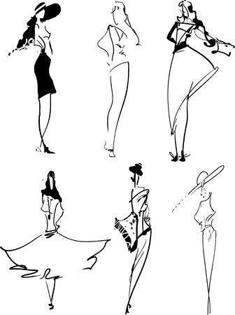 Mode-iconen: set van de hand getekende topmodellen Stock Illustratie