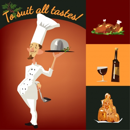 Funny cook with a set of dishes Vector