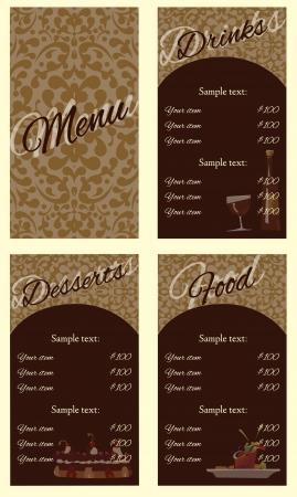 broun: Ornate menu background restorant broun cafe style