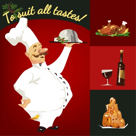 Funny vector cartoon-style character of a chef with different Vector