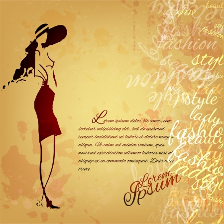 Fashion girl on an old grunge parchment Vector