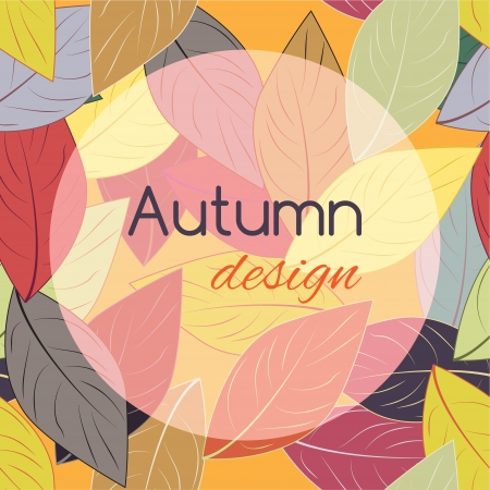 Autumn leaves template red design element background Vector
