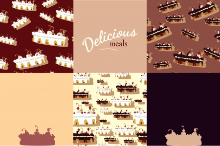 Set of eight delicious meals seamless colourful Vector