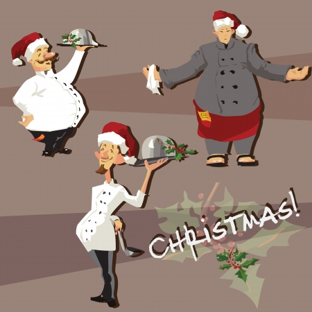 Set of chefs in Christmas hats restaurant; cafe; design elemtnts Vector