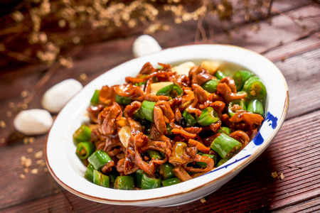 Home cooked meal - Fried chitterlings with green peppers