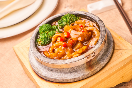 Stone pot fish fillet with spicy sauce