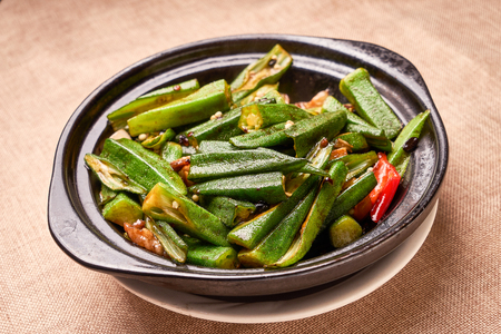 Fried pepper with okra 写真素材