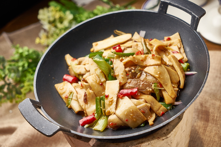 Traditional gourmet fried oyster mushroom with pepper