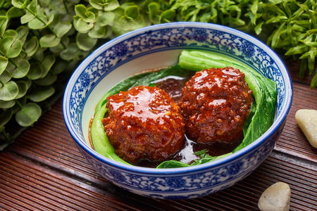 Traditional gourmet Stewed Pork Ball in Brown Sauce