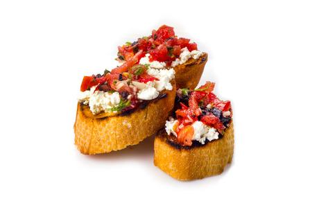 bruschetta: bruschetta with cheese and tomatoes