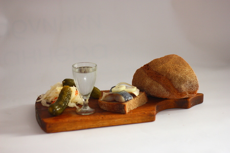 quick snack: cold appetizer with vodka