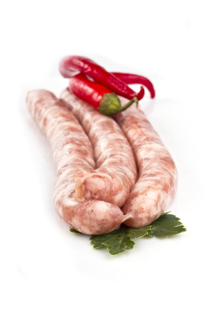 broil: Grilled sausage with red hot pepper and tomatoes Stock Photo