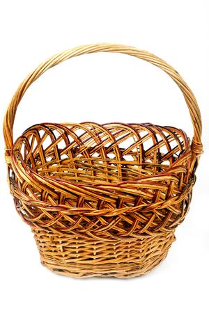 Brown wicker basket empty