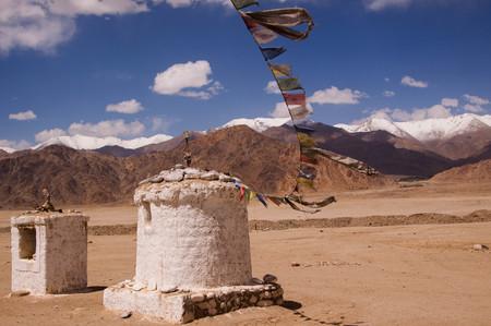 Buddhist stupa on himalaya highlands in Ladakh