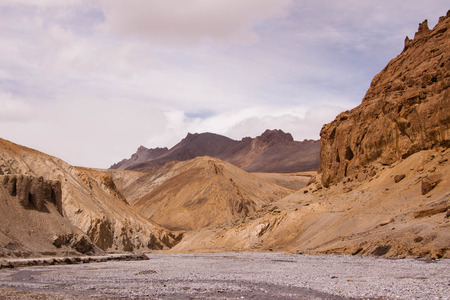 Shallowed watercourse in canyon. Ladakh highlands. India State Jammu and Kashmir Stock Photo