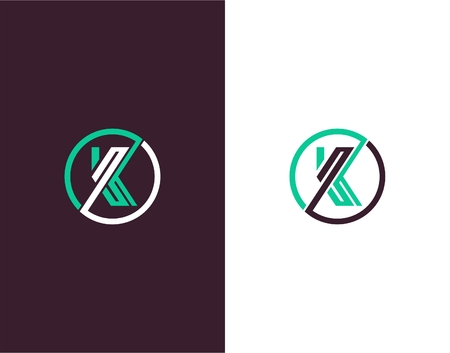 Letter K abstract vectore template. Line art logo