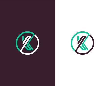 Letter K abstract vectore template. Line art logo Illustration
