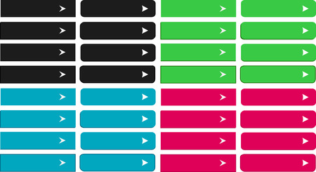 rounded edges: Combination of buttons with square corners, rounded corners, edges and different colors