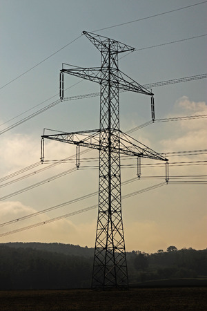 hight tech: High voltage pylon in the middle of the field