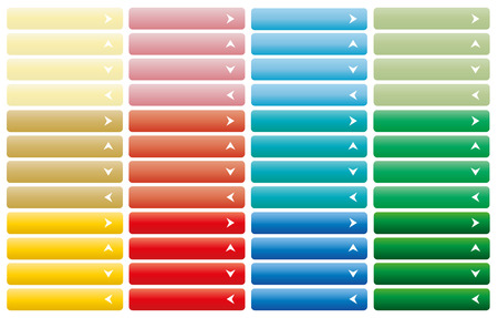 close icon: Set of web buttons with arrow in color combination
