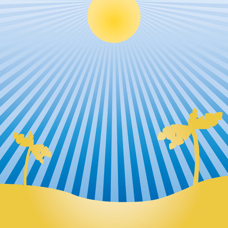 bask: Vector drawing of the sun and exotic landscapes Illustration