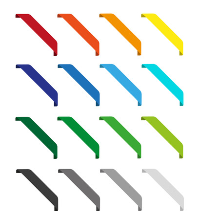 Set of isolated colorful ribbons. Round corners Illustration
