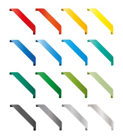 Set of isolated colorful ribbons. Round corners Ilustracja