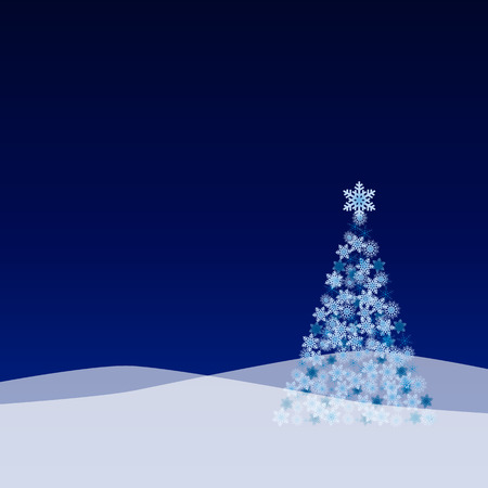 Vector Christmas landscape with tree from snow flakes