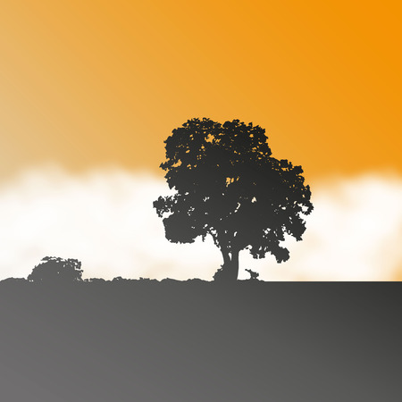 Vector landscape with tree and fog Vector