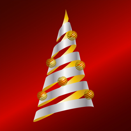 Abstract vector Christmas tree from gold and silver ribbon and golden bulbs