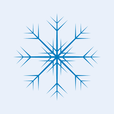 one isolated: One isolated blue vector snowflake