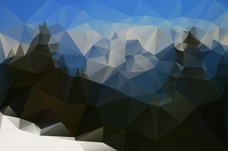 skying: Abstract snowy mountain landscape created from triangles