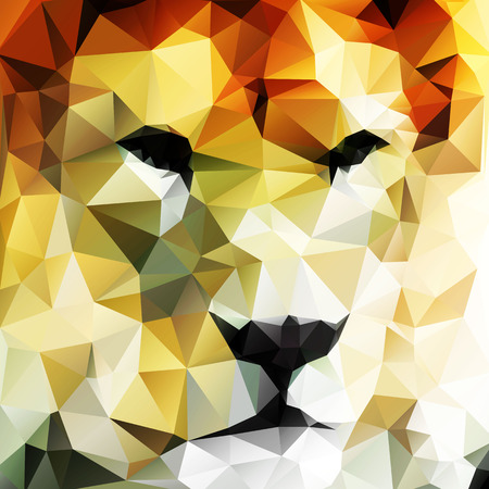 animal logo: Abstract vector drawing of a lions head made up of triangles