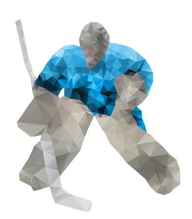 Hockey goalie. Vector drawing created from triangles Vector