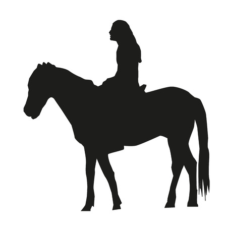 horseman: Vector isolated silhouette of a man sitting on a horse