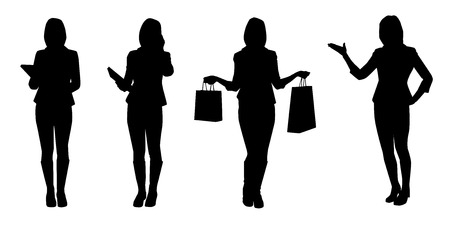 Set of business women. Vector silhouettes Vector
